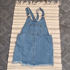 forever 21 frayed denim overall dress